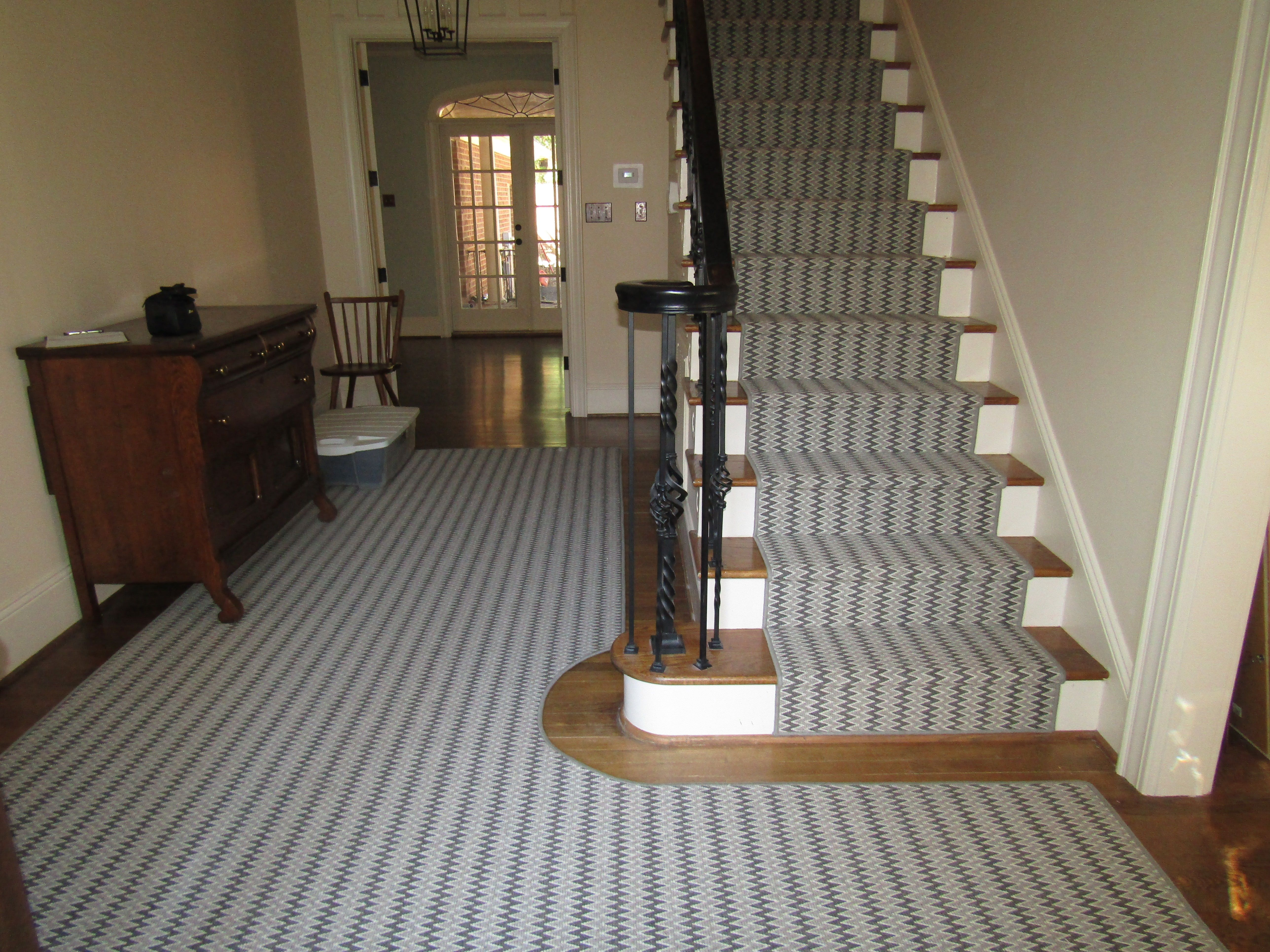 Another Example Of A Stair Runner And Area Rug Cut And Laid To Match