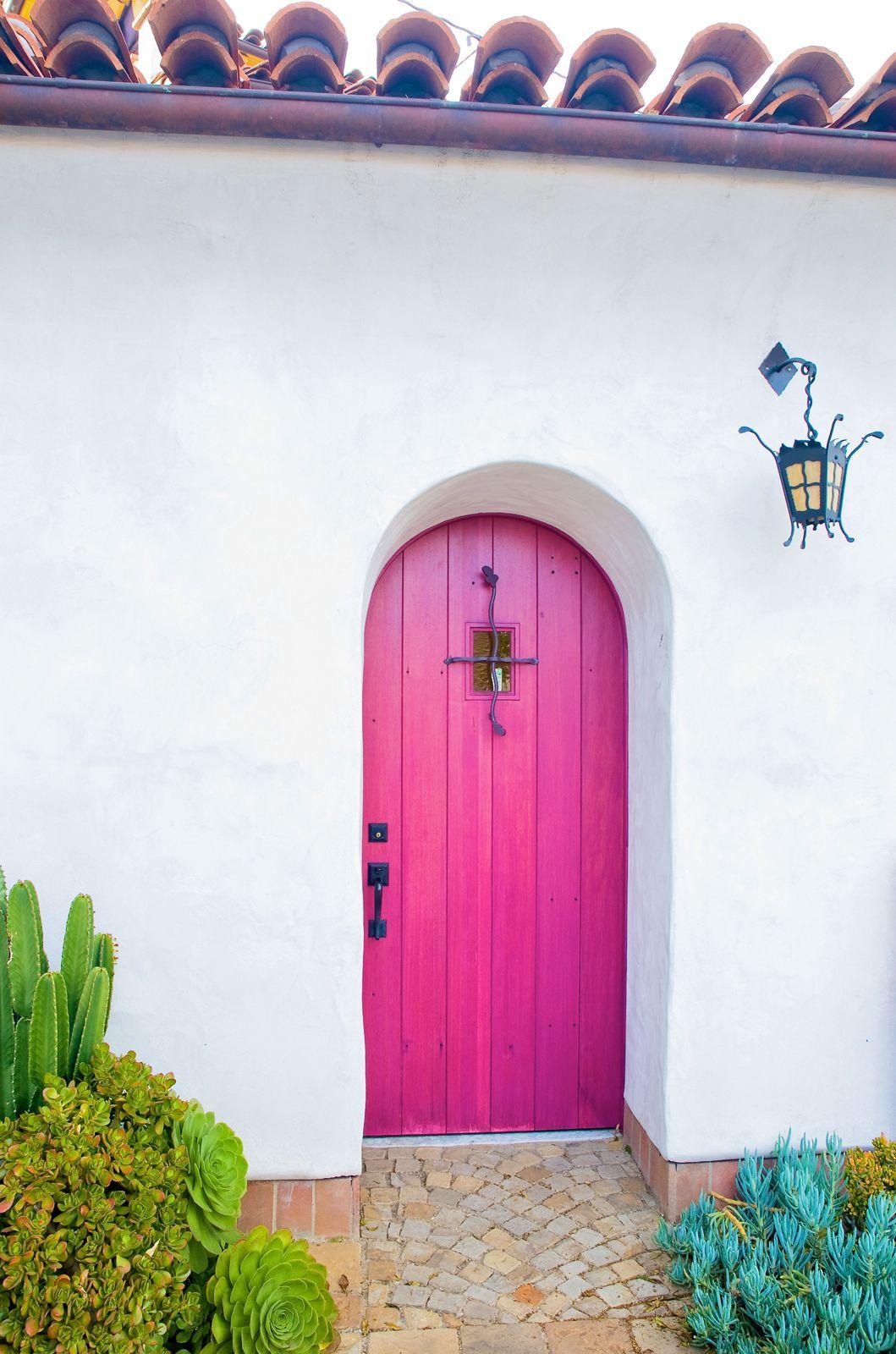 Photo 3 of 6 in contemporary hints in santa barbara iron gray purple iron railings a fuchsia and green wooden entry and garage doors rubansaba