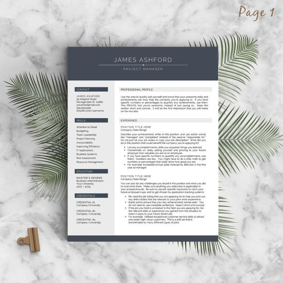 Modern Resume Template for Word and Pages , 1-3 Page Resume + Cover