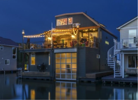 Located on the Columbia River in Portland, Oregon, this house features multiple levels for outdoor living and a garage to store your boat. (Source: zillow) The definition of a floating home may vary, but in general they share these commonalities: