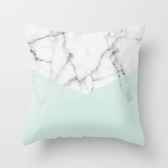 A beautiful real pure white marble stone combined with the other half mint green. The design has a very soft and elegant look yet is very minimal, modern and trendy. The marble texture is very trendy and simple for a modern interior.