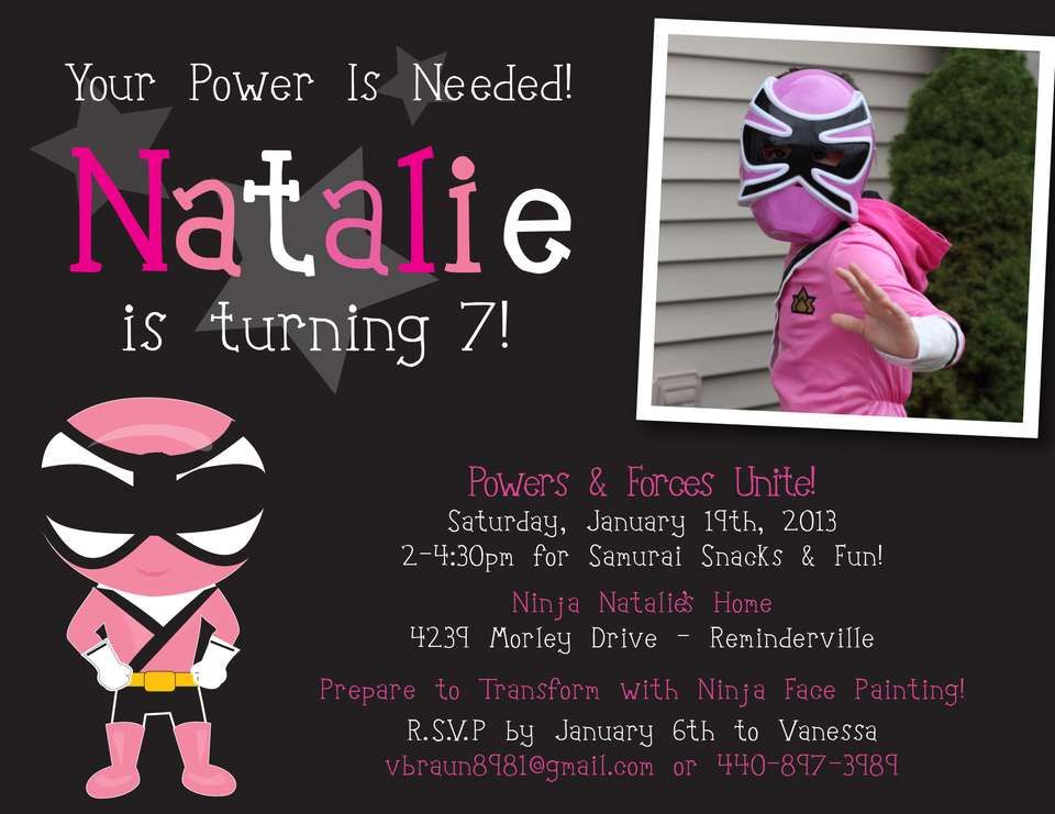 9 best images about Pink Power Ranger Party Ideas – Power Ranger Party Invitations