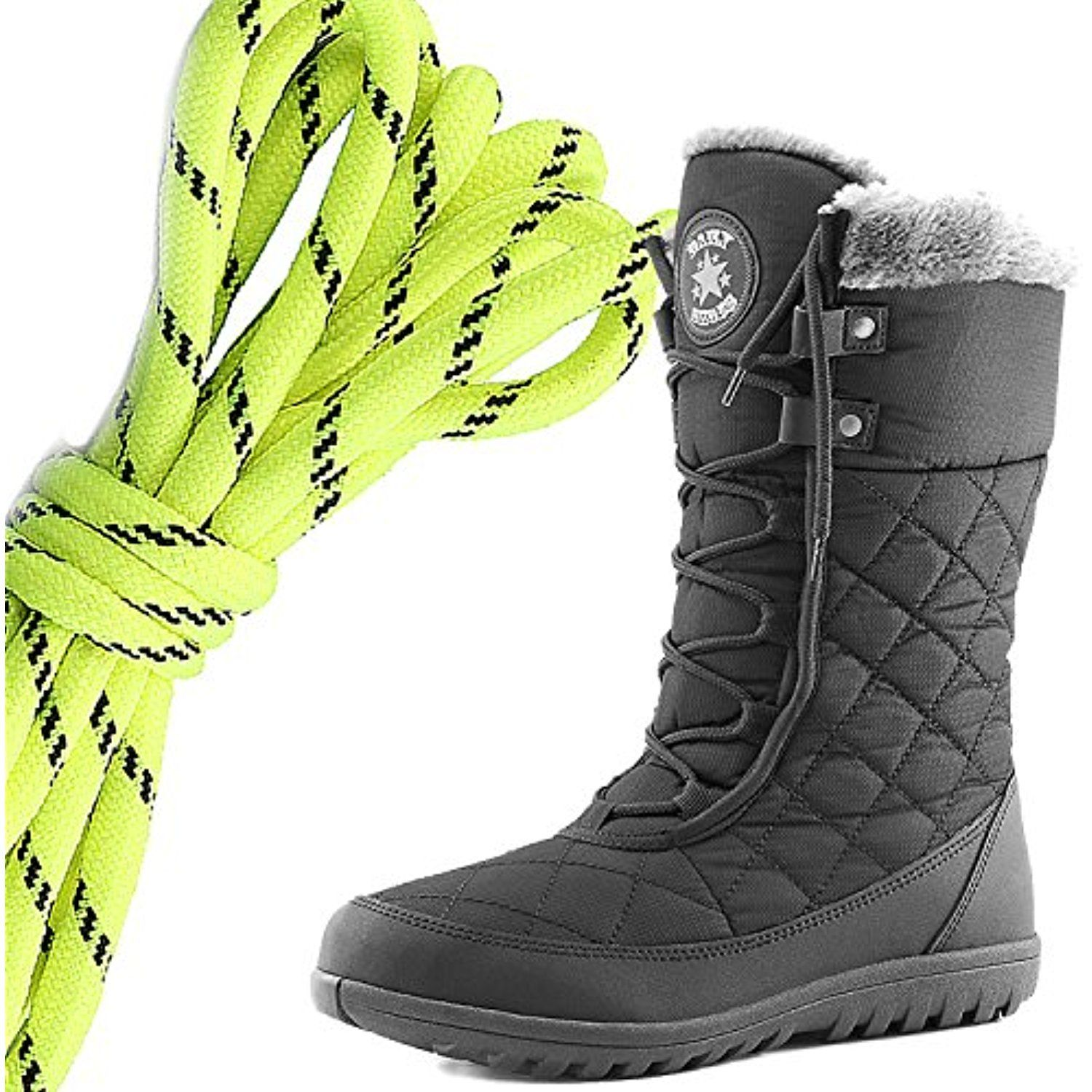 Women's Comfortable Round Toe Flat Ankle High Eskimo Winter Fur Snow Boots Neon Yellow Black