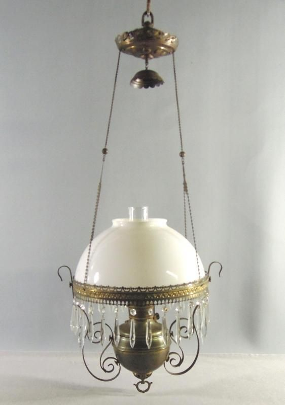 Antique Hanging Parlor Oil Lamp Royal Center Draft White Milk Glass Shade Oil Lamps Antique Oil Lamps Antique Lamps
