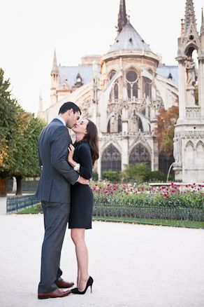 Kiss Photo At Notre Dame Paris Parisian Engagement Anniversary