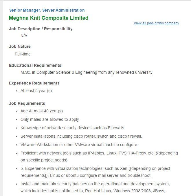 Career u2013 Meghna Knit Composite Limited u2013 Senior Manager\/Server - webmaster job description