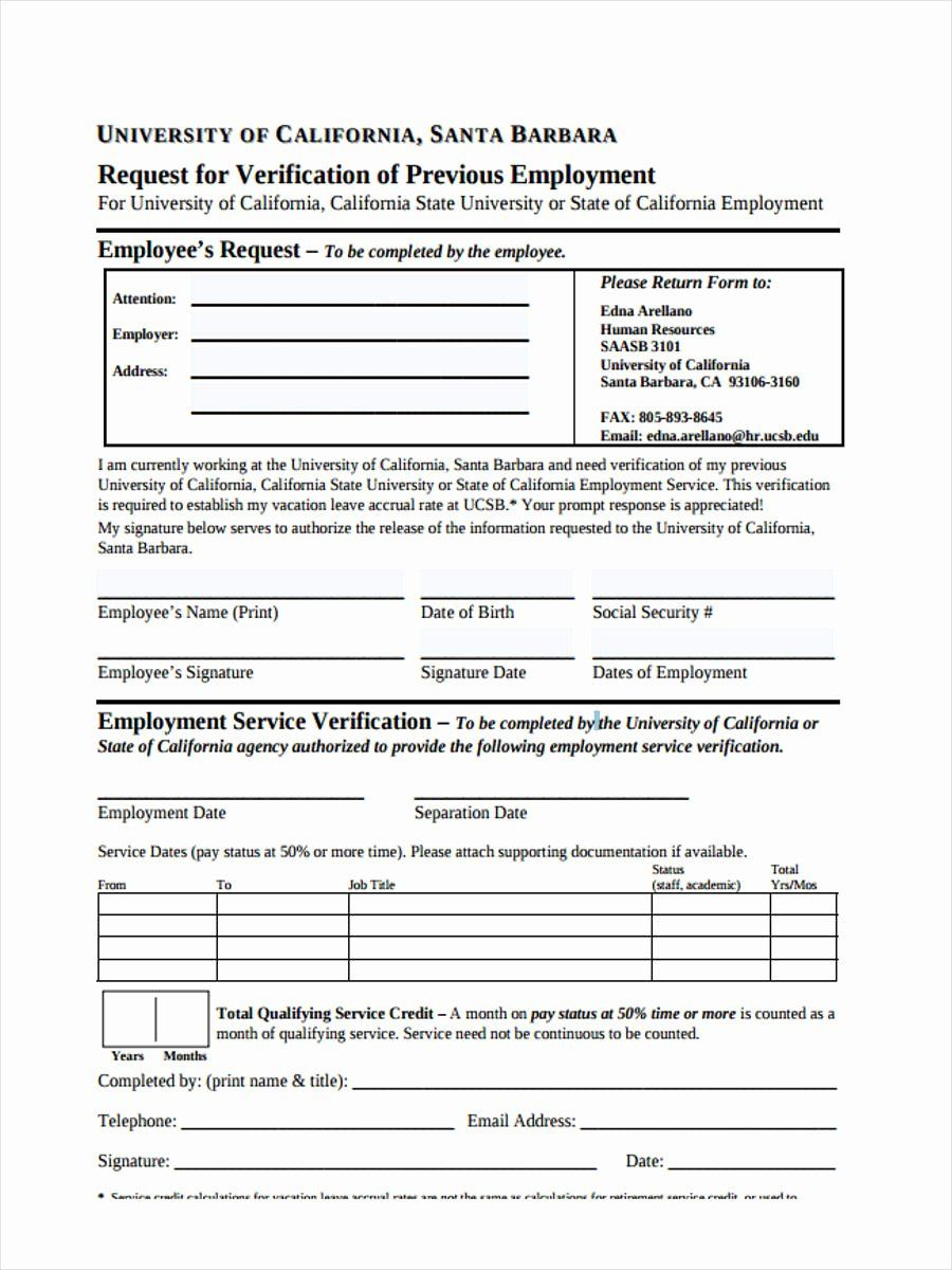 Employment Verification Request form Lovely Free 49 Sample