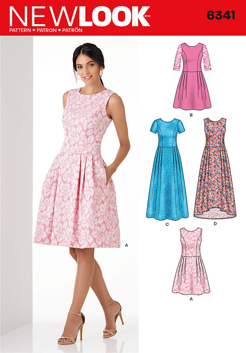 Nl6341 misses dress in three lengths 6 8 10 12 14 16 18 clothing patterns jeuxipadfo Image collections