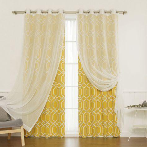 Aurora Home MIX And Match Curtains Muji Sheer Geometric Panel Pair (Orange  84), Size 52 X 84  Mustard Yellow Curtains