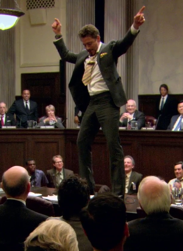 Tony Stark dancing on a table in Congress. (