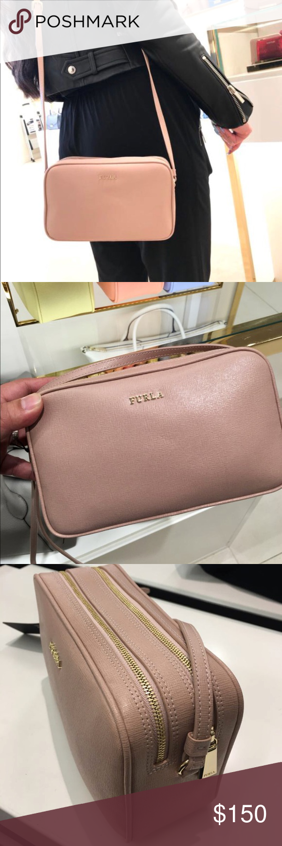 new style best authentic sports shoes Furla Lilli Double Zip Crossbody Functional leather ...