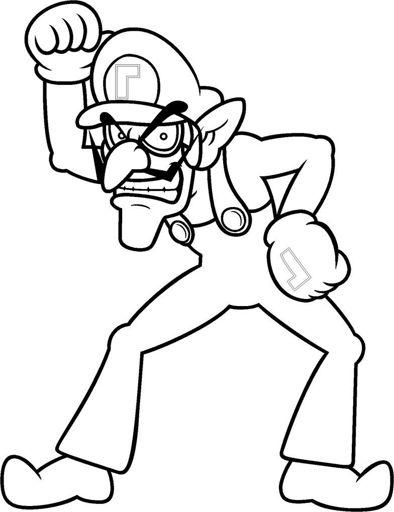 waluigi coloring pages to print | Waluigi Coloring by Blistinaorgin ...