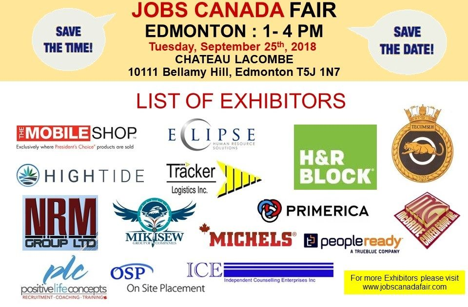 List Of Hiring Companies For Edmonton Job Fair September 25th 2018 1 4pm Chateaulacombe Free Admission Hundreds Of Jobs Mee Job Fair Job Marketing Jobs