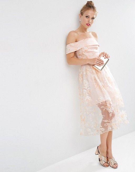 ASOS | ASOS Nude Floral Organza Bardot Midi Dress | moda | Pinterest ...