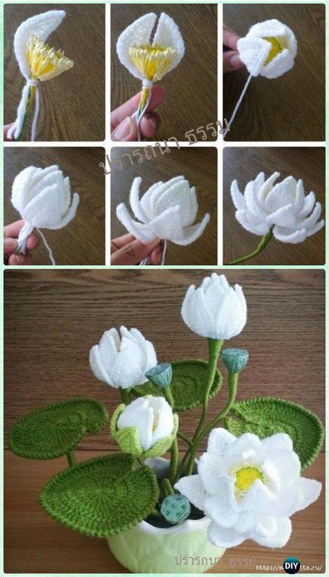 Crochet Water Lily Flower Bouquet Free Pattern Crochet 3d Flower