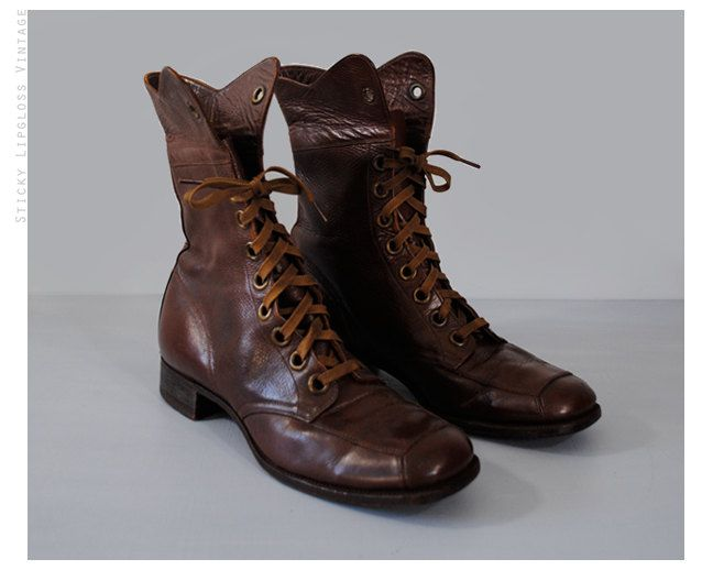7f554d57a13 1930s brown women s ankle boots