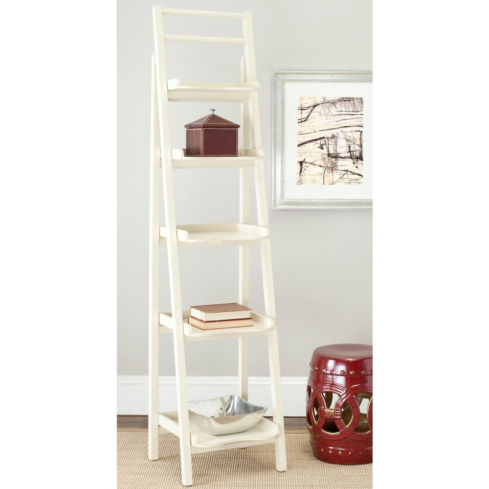 Safavieh 71 3 In Vintage Cream Wood 5 Shelf Ladder Bookcase With Open Back Amh6537a The Home Depot Leaning Bookcase Ladder Bookcase Bookcase