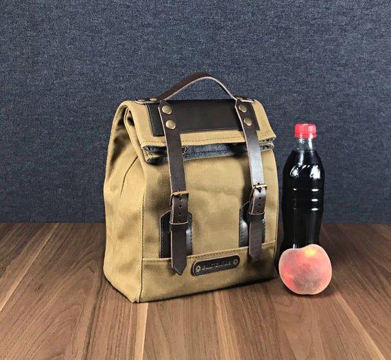 bolsa de almuerzo de lona encerada para hombres, bolsa de almuerzo moderna para el trabajo, bolsas de almuerzo de lona encerada de moda
