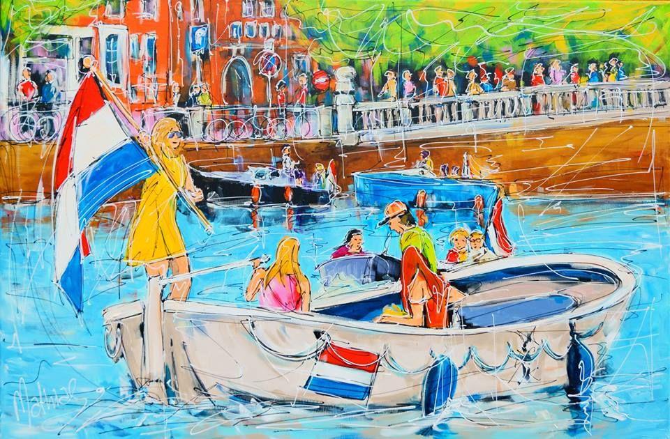 ART the BLOG:   Canal Amsterdam king day Mathias   acrylic on ca...
