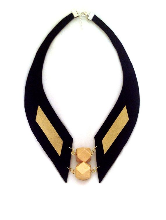 Geometric statement necklace Gold and black leather by julishland, $33.00