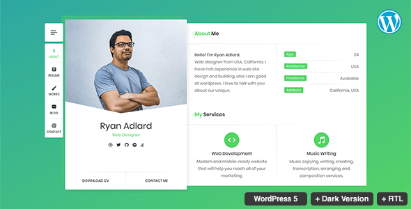 Ryan Resume Cv Vcard Theme Stylelib Resume Cv Cv Template Wordpress Template