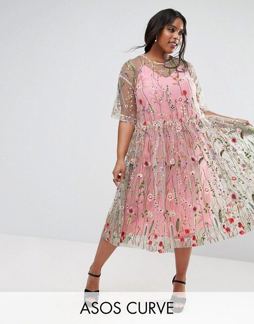 ASOS CURVE SALON Embroidered Smock Longer Length Midi Dress ...
