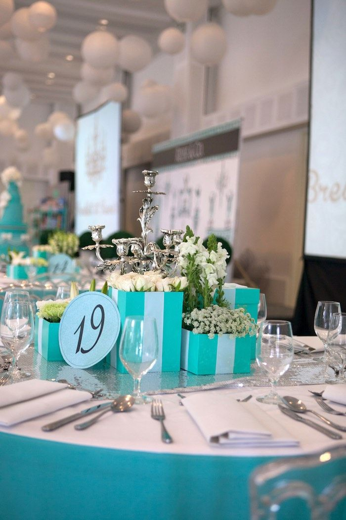 bf1957f51d Dining Tablescape from a Breakfast at Tiffany's Inspired Birthday Party via Kara's  Party Ideas | KarasPartyIdeas.com (38)