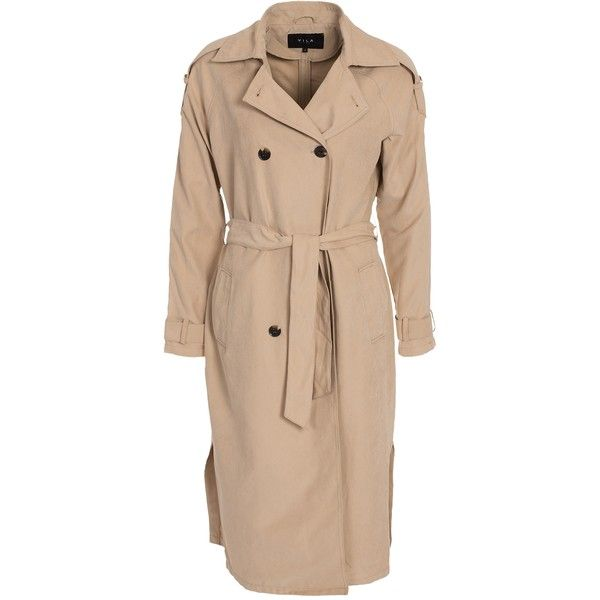 Vila Viemmely Long Trenchcoat Tb ($52) ❤ liked on Polyvore featuring  outerwear, coats