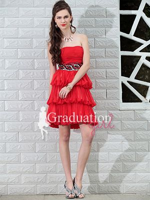 228a9138055 Girls Red Cute Short Petite A-Line Strapless Graduation Dress - US  100.79  - Style G0535 - Graduation Girl