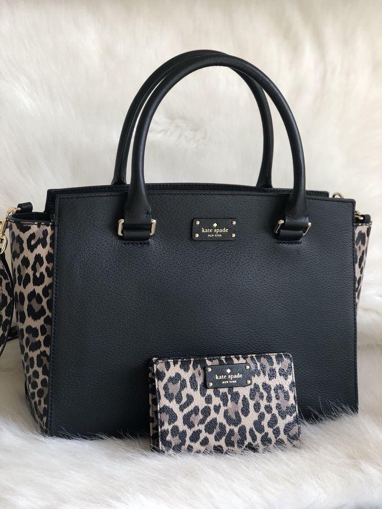 Kate Spade Lana Satchel Grove Street Leopard Black Multi Wallet