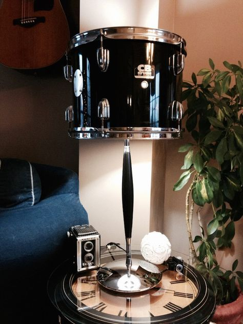 Repurposed Drum Table Lamp With Chrome And Black Base