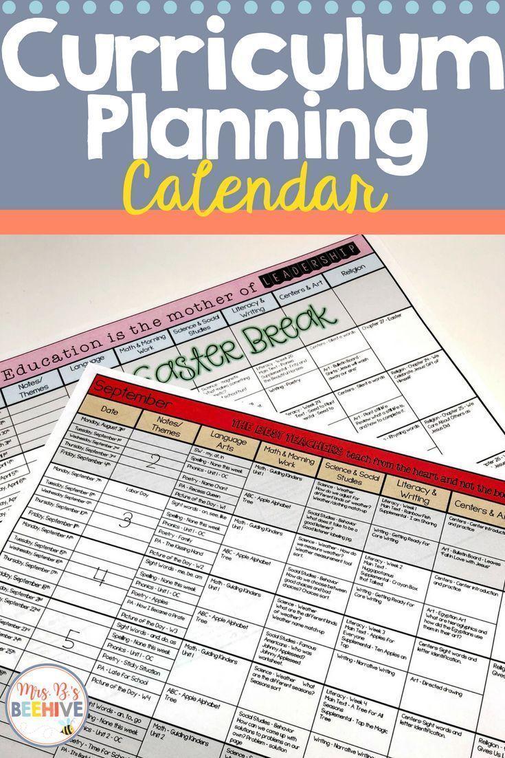 Curriculum Planning Calendar 20192020 School Year (With
