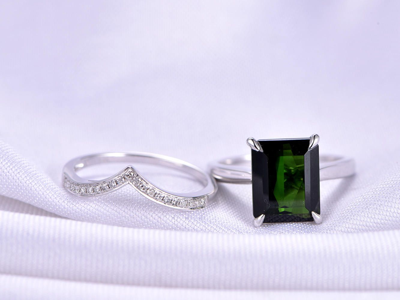 image tourmaline gold cluster engagement gemstone diamond green ring rings white jewellery