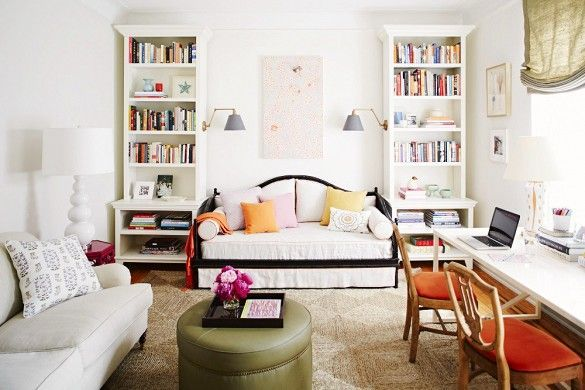 It's Possible to Live Well in a Studio Apartment—Here's How 11 Gorgeous Studio Apartments to Inspire You via @domainehome A thoughtful plan and smart furniture choices make this studio feel like a fully custom abode. Freestanding shelves flanking a daybed look built-in, while sconces hung on the bookcase's sides provid