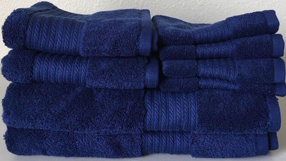 Ralph Lauren 8 Piece Greenwich Blue Marine Bath Towel Set