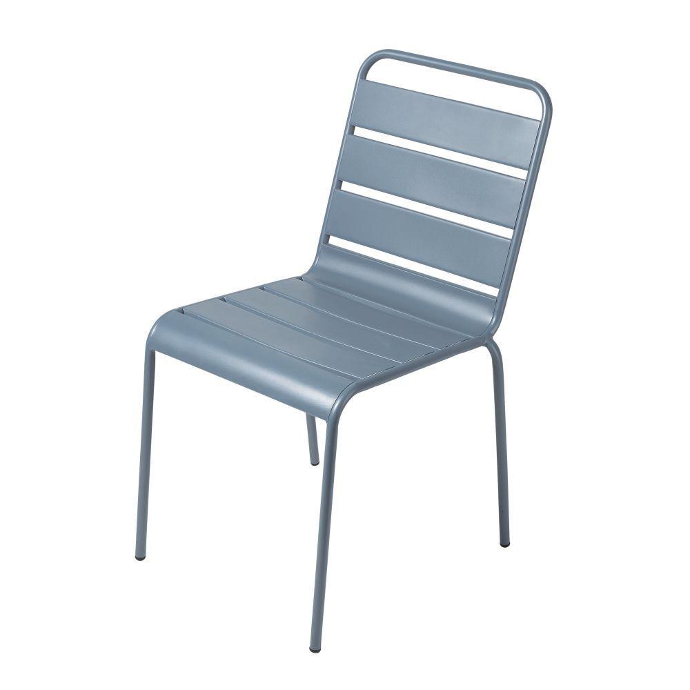Chaise De Jardin En Metal Bleu Gris Chaise Jardin Metal Chaise