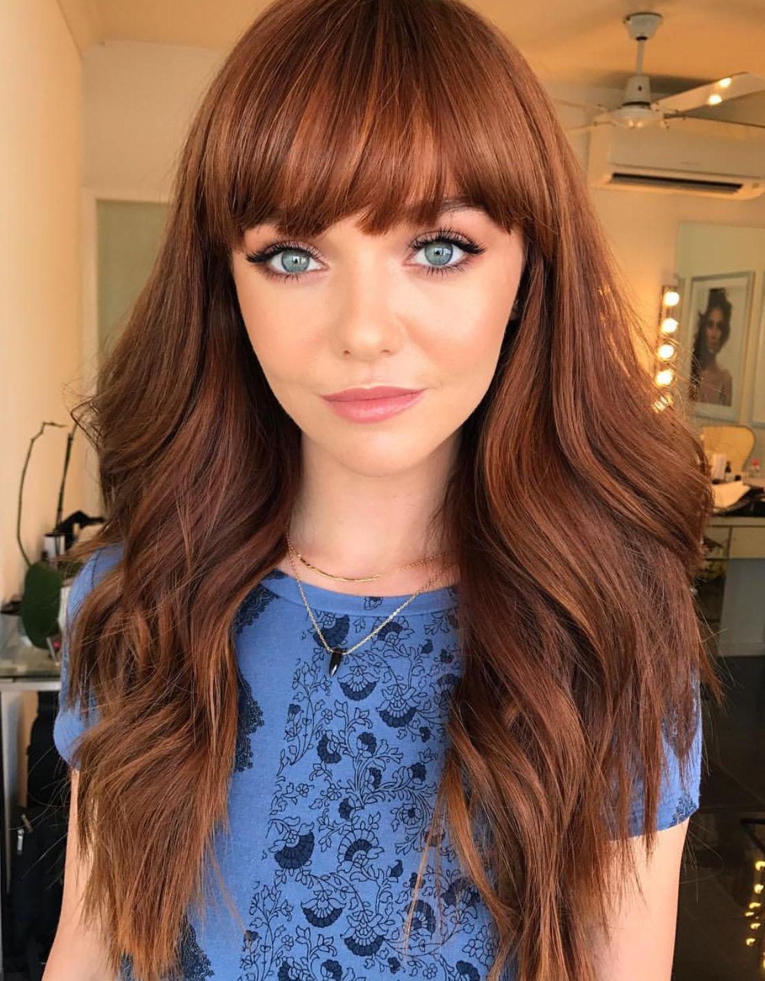 Pinterest Deborahpraha Long Hair With Bangs Fringe Hair Style Hair Styles Haircuts For Long Hair Copper Red Hair