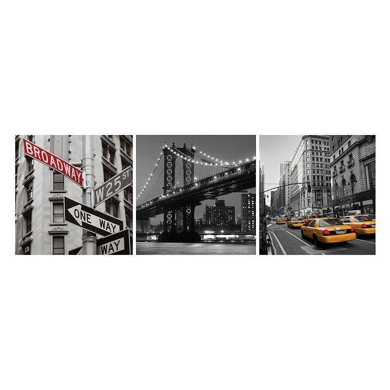 Nexxt Shutter Canvas Prints New York Wall Art Set, Multicolor