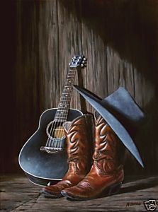 Country Music Painting Poster Guitar Cowboy Boots Hat