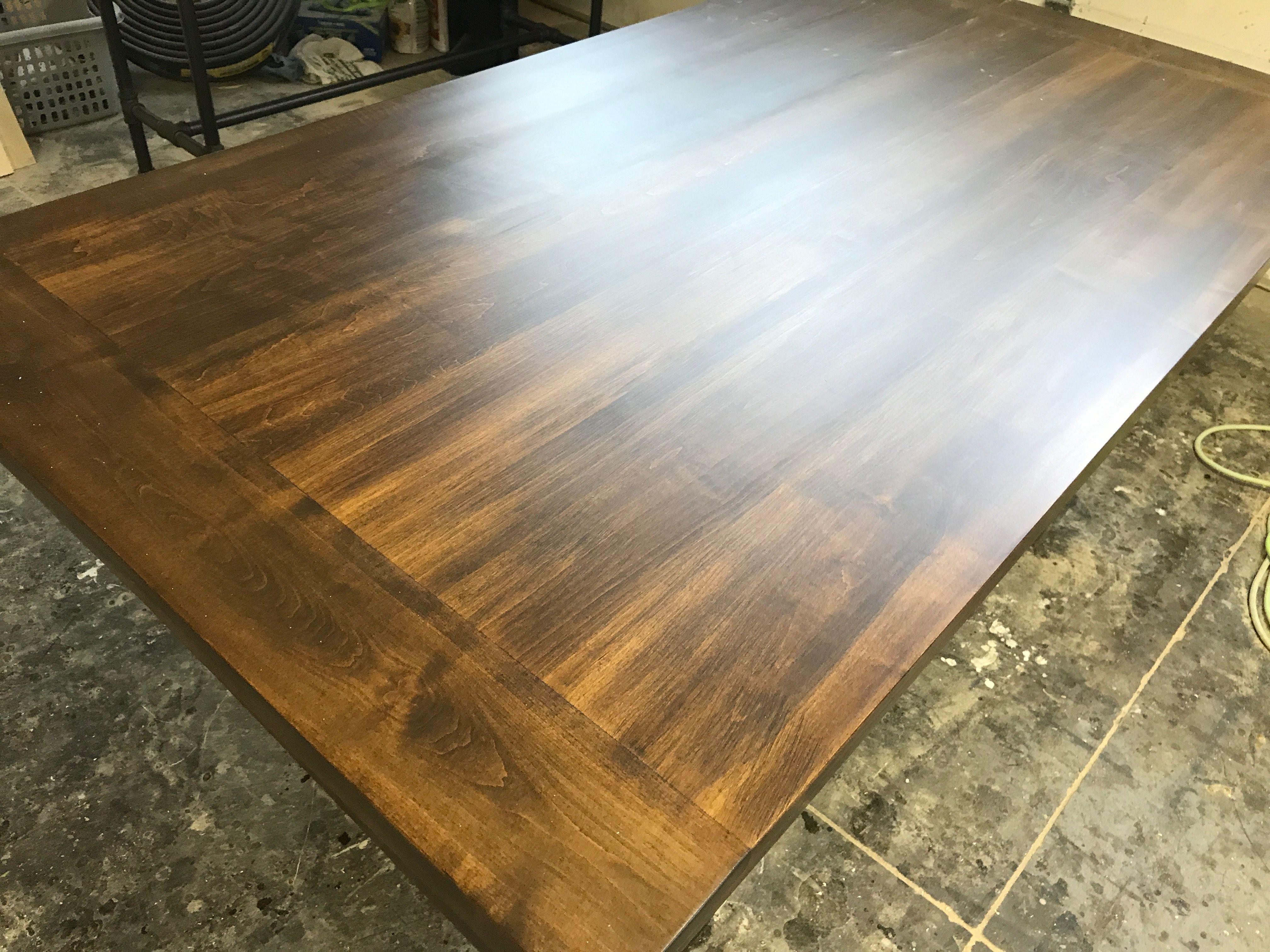 Maple Tabletop Done In Dark Walnut With Bread Board Ends