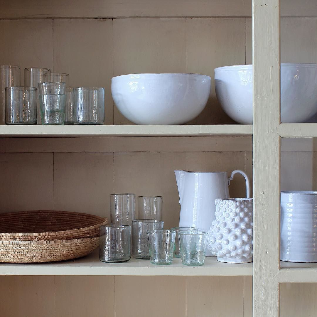 Old Mother Hubbard's Well Stocked Cupboard | New glassware from France and Astier ceramics in the shop. #madeinfrance #glassware