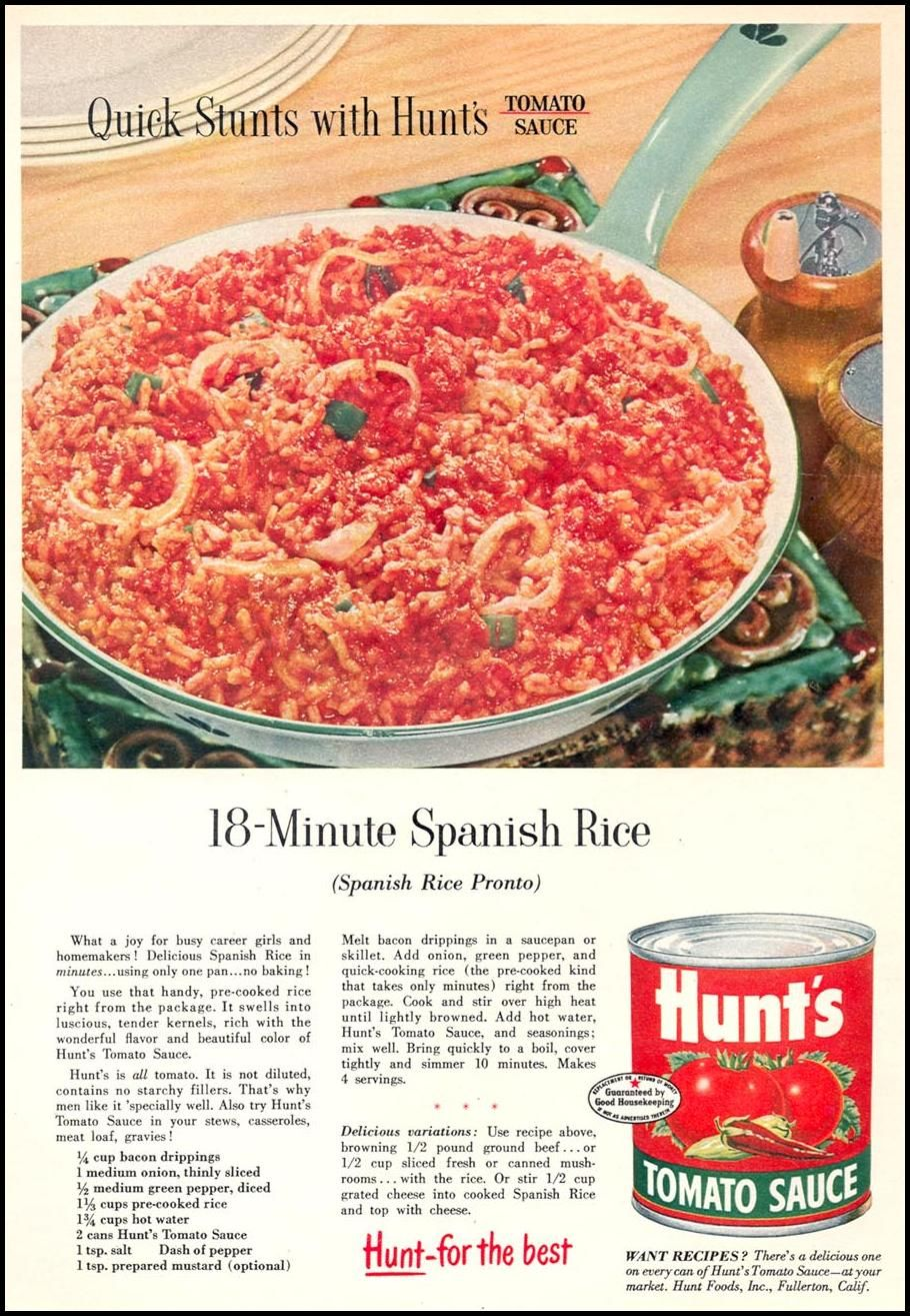 18 Minute Spanish Rice- HUNT'S TOMATO SAUCE WOMAN'S DAY 09/01/1955 ...