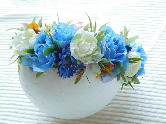 Maternity Photo Props Cornflower Blue & Ivory Flower Crown