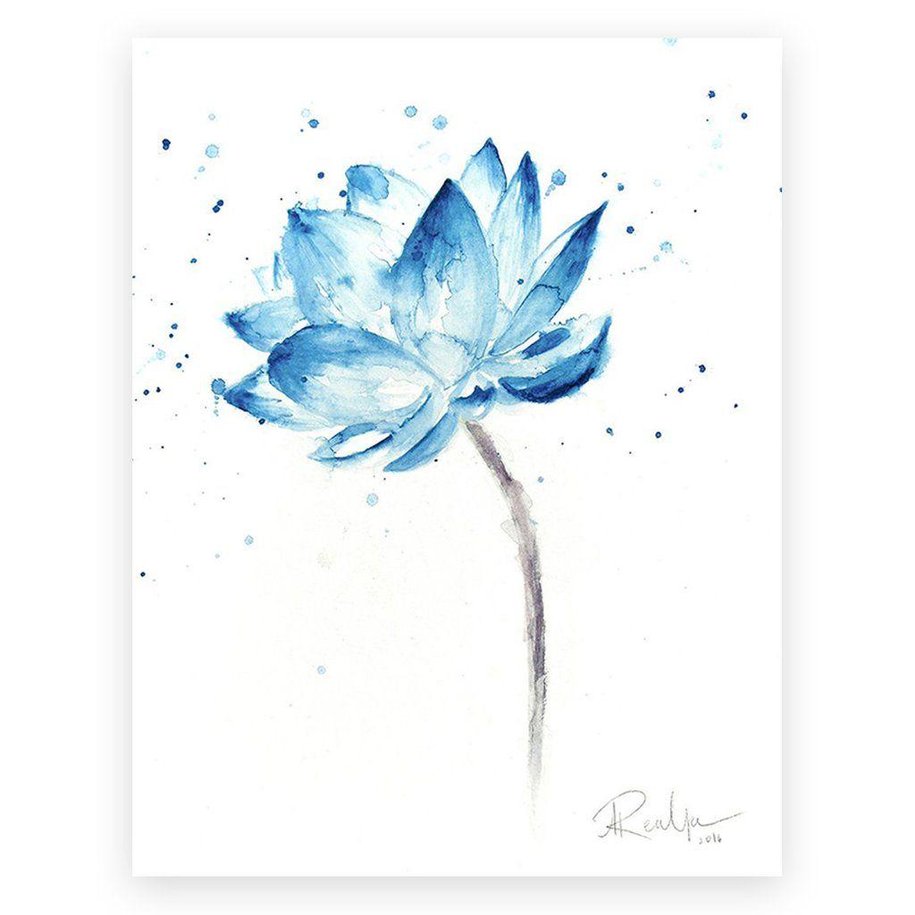 Lotus Print Lotus Painting Lotus Flower Wall Art Lotus Watercolor