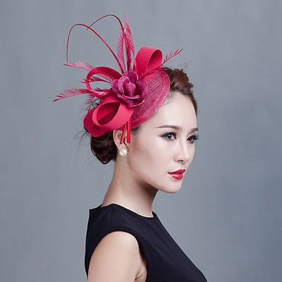 New Ladies Flower Feather Sinamay Top Hat Fascinator Royal Race Prom Hair Clip
