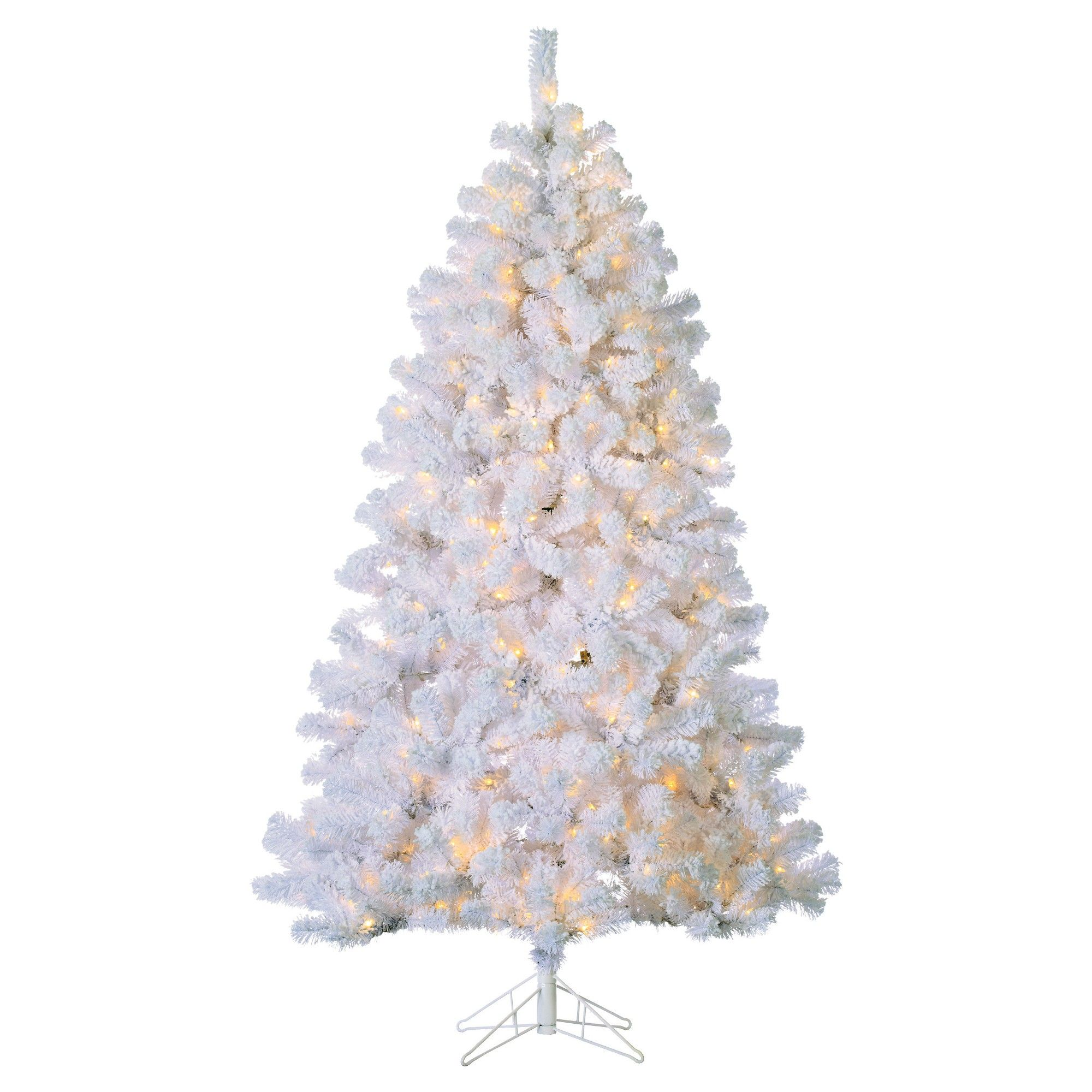 7ft Pre-Lit Artificial Christmas Tree Full Flocked White Montana ...