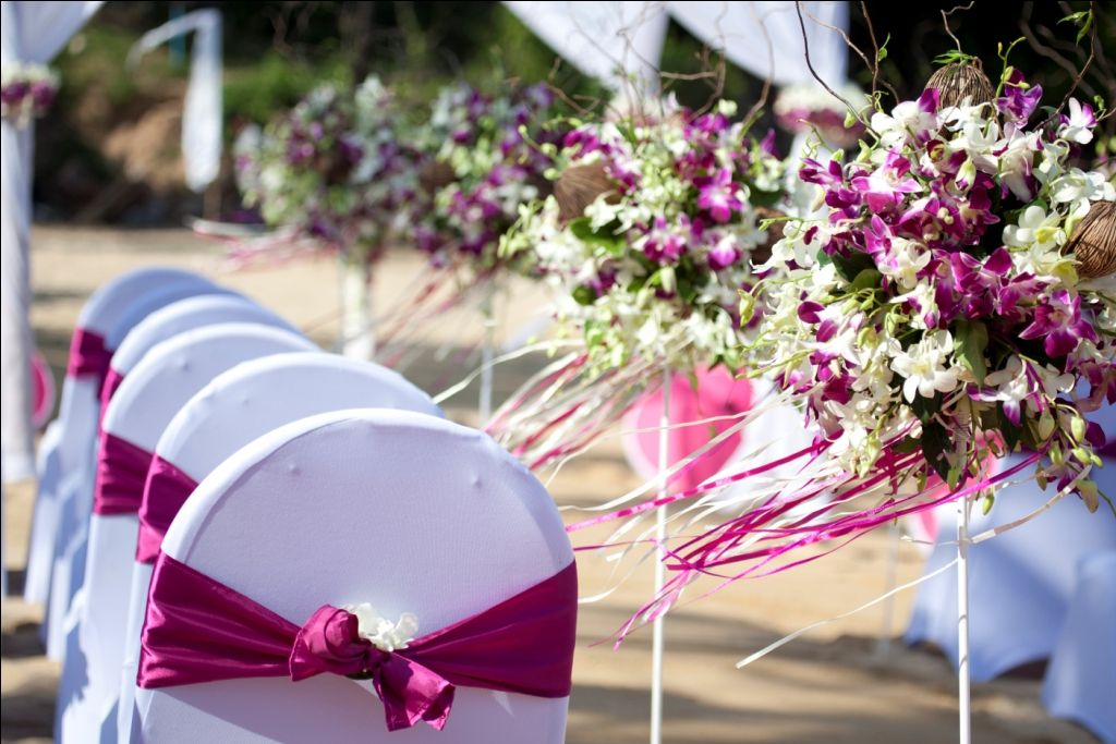 beautiful pink and white dendrobium orchids with pink ribbons blowing in the breeze