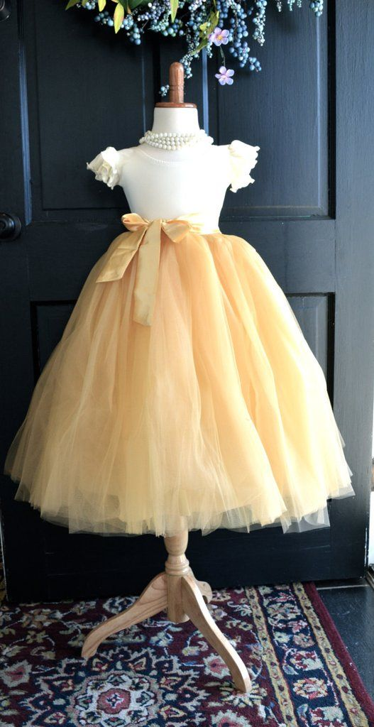 Tan Gold Tulle Skirt with sash
