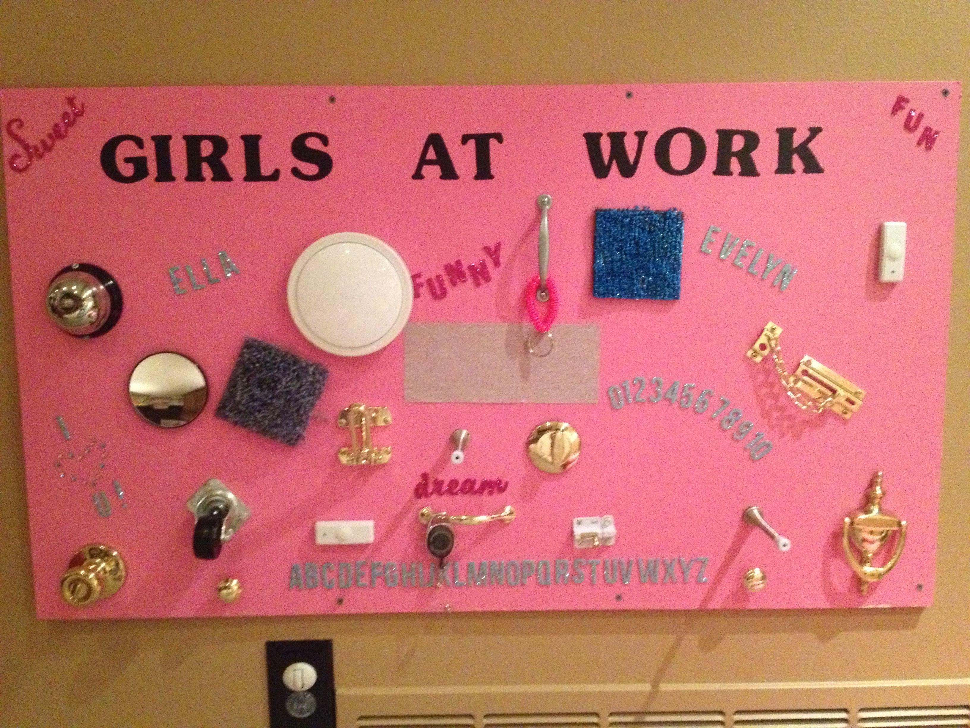 Busy board for the girls   playroom ideas   Pinterest   Busy board ...