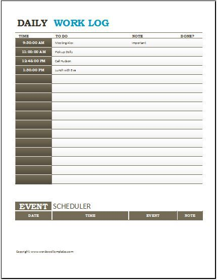 Work Log Templates Daily Sheet Template Flexible Consequently